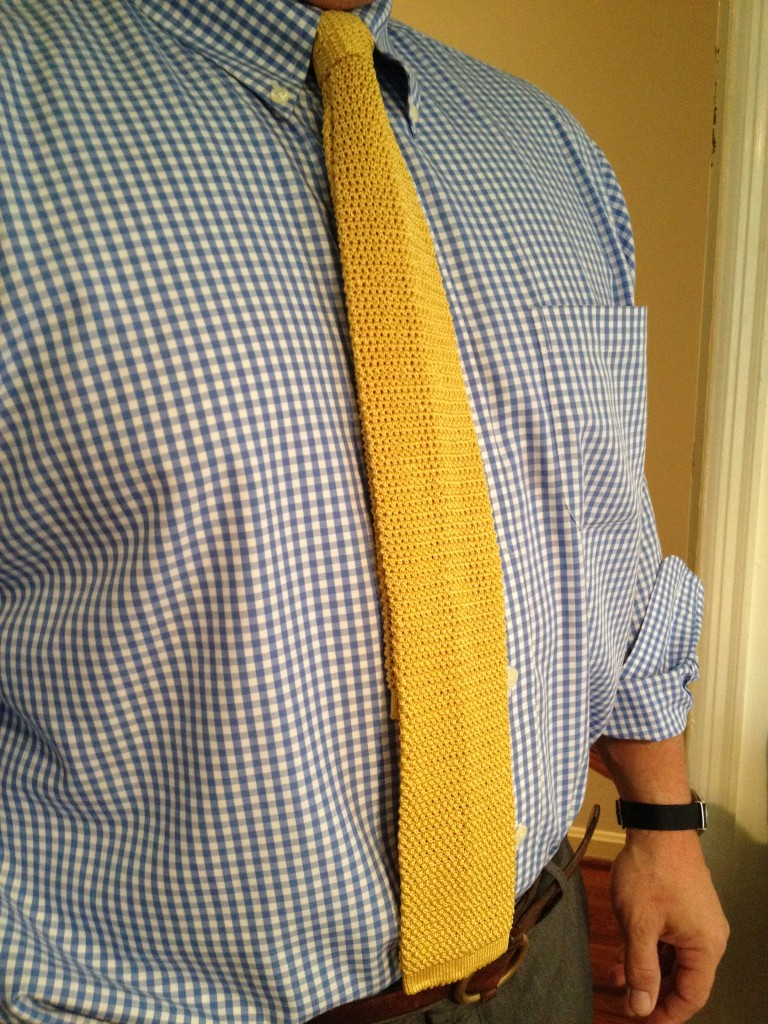 new yellow square end knit tie