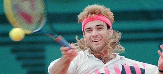 80s sports mullet seen on Andre Agassi