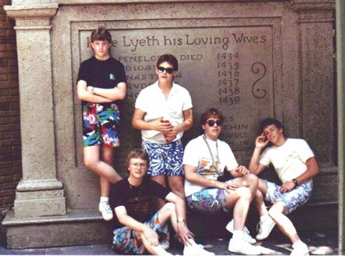 Five 80s dudes in some rad Jams shorts
