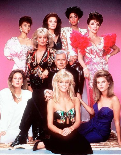 Cast of Dynasty sporting puffed 80s sleeves