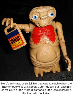 Toy of E.T. holding a Speak & Spell - Photo credit to Luckykatt