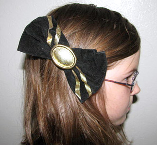 80s black and gold hair bow (photo credit: Crystal's Closet)