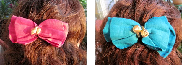 80s turquoise and fuschia hair bows (photo credit: The Lovely Seamstress)