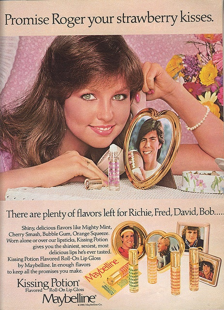 Kissing Potion Lipgloss ad with Deborah Foreman