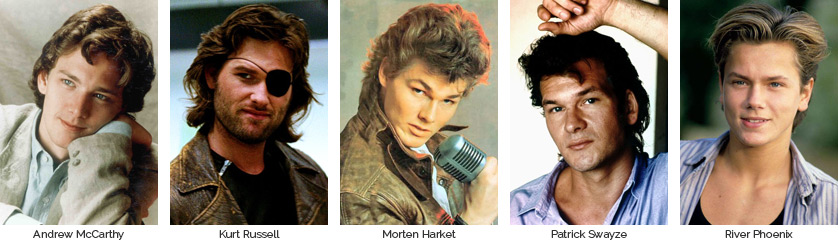 Best Looking Dudes of the 80s: Andrew McCarthy, Kurt Russell, Morten Harket, Patrick Swayze, & River Phoenix