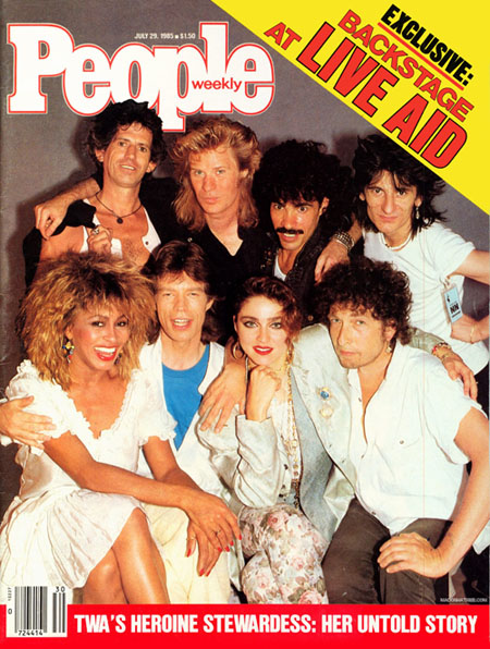Live Aid artists featured on the cover of People Magazine in July 1985