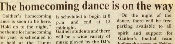 80s Homecoming Prom newspaper article