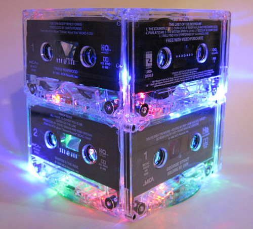 Light-up Cassette Tape Centerpiece (photo credit: Break the Record)