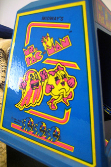 Mrs. Pac Man Coleco mini-arcade tabletop game (side art)
