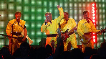 Devo performing at the Crystal Ballroom in Portland, Oregon on 09/16/11