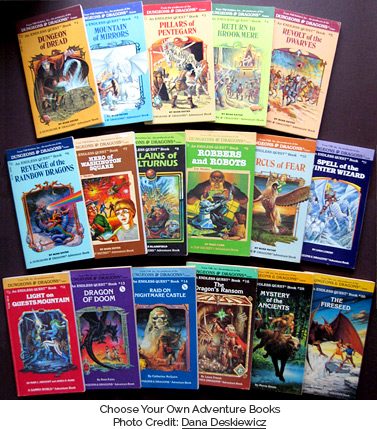Dungeons & Dragons Choose Your Own Adventure Books. Photo Credit: Dana Deskiewicz (http://www.flickr.com/photos/mediafury/2515893617/)
