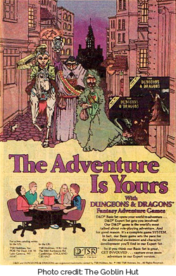 Dungeons and Dragons Fantasy Adventure Games advertisment from a comic book. Photo credit: The Goblin Hut (http://www.etsy.com/shop/goblinhut)