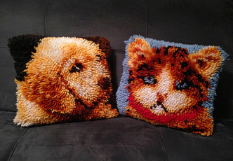 Latch Hook Pillows: Dog & Cat (photo credit: bryanews)