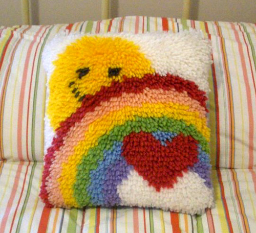Latch Hook Pillow: Sun, Rainbow & Heart (photo credit: REdesignkc)