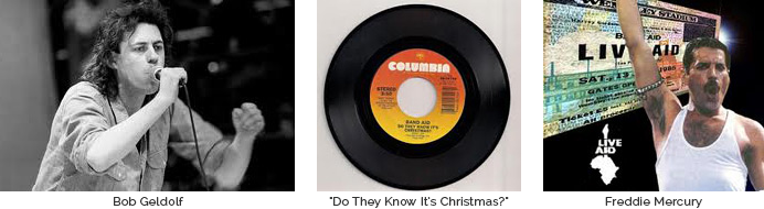 "Bob Geldof, ""Do They Know It's Christmas?"" 45 Record, & Queen's Freddie Mercury"