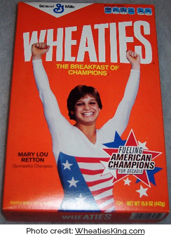 Mary Lou Retton on a box of Wheaties (photo credit: WheatiesKing.com)