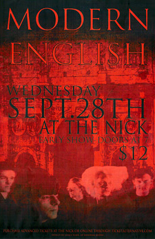 Modern English Concert Poster - Wed. Sept. 28th, 2011 at The Nick