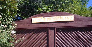 """Boogie Wonderland"" sign on Nick Richard's gate."