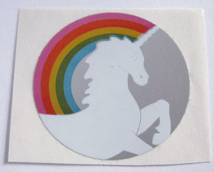 80s unicorn and rainbow sticker