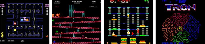 Pac Man, Donkey Kong, Burgertime & Tron