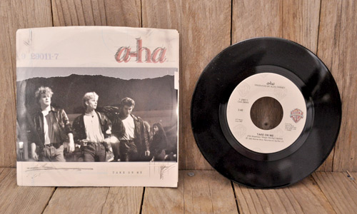 "a-ha's ""Take On Me"" on 45 (photo credit: The Rusty Chicken)"