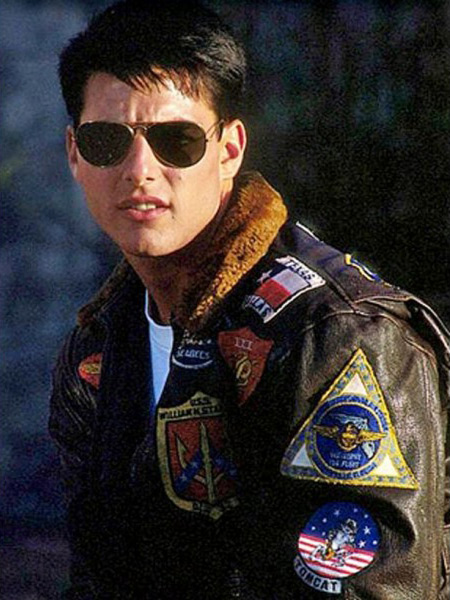 Tom Cruise wearing a bomber jacket in Top Gun