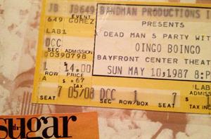 Oingo Boingo concert ticket stub