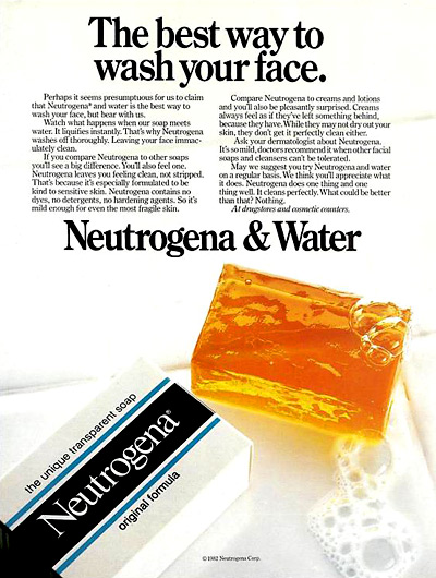 Neutrogena print ad for their original bar soap from 1983 (Photo credit: downtowngypsies)