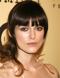 Keira Knightly wearing a side ponytail
