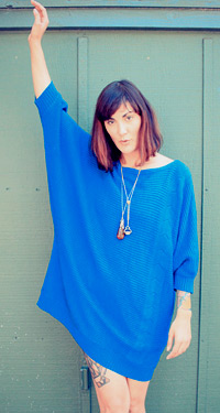 Blue ribbed batwing sweater dress (photo credit: blackflamingovintageVintage)