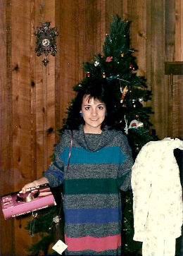 Julie in her coveted sweater dress she got for Christmas in 1985