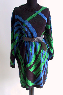 Sweater dress with emerald and royal blue asymmetrical pattern (photo credit: LoverlyVintage)