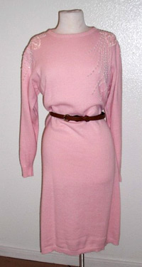 Pink sweater dress with bead detail (photo credit: Themis Vintage)
