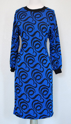 Sweater dress with royal blue and black swirl pattern (photo credit: Waistland)
