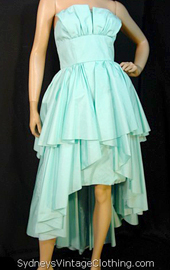 80s ruffle dress in seafoam green