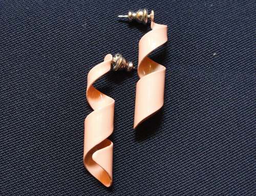 80s Earrings: Peach colored and corkscrew shaped.