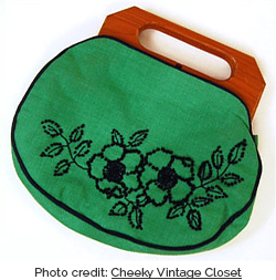 Green bermuda bag with navy embroidered flowers (Photo credit: Cheeky Vintage Closet)