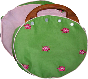 Green bermuda bag with pink turtles (Photo credit: All About You Design)