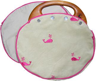 Gray bermuda bag with pink whales (Photo credit: All About You Design)