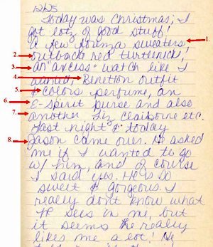 Lori's December 25, 1987 (Christmas) Diary Entry