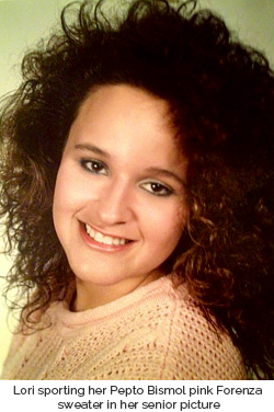 Lori's senior picture in which she's wearing her pink Forenza sweater, a Christmas present from 1987