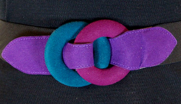 Teal and purple geometric suede elastic belt (photo credit: BowTieVintage)