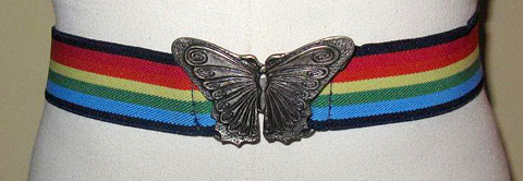 Rainbow elastic belt with butterfly buckle (photo credit: fancy4glass)