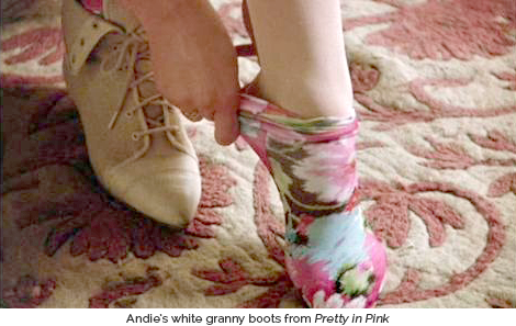 Andie's white granny boots from 'Pretty in Pink'