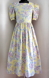 80s Yellow Laura Ashley dress