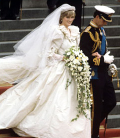 Princess Diana in her puffy wedding dress
