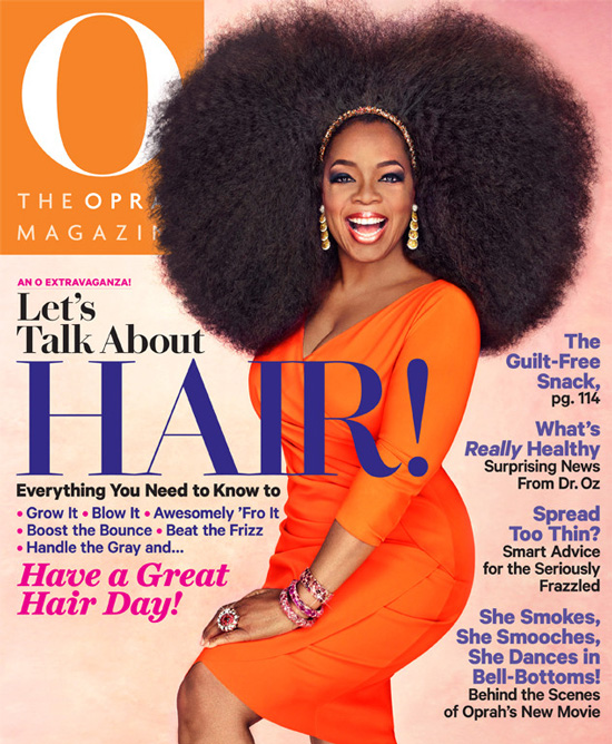 Oprah shows off her big hair on the cover of O
