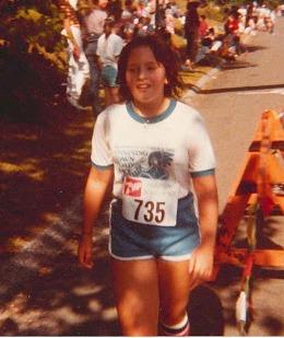 Lori wearing terrycloth shorts in the 80s