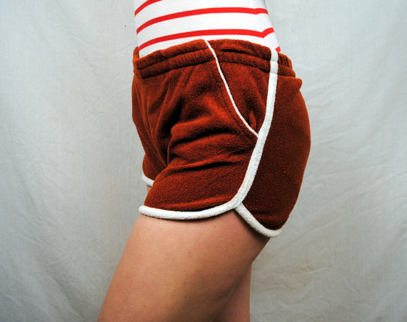 Red terrycloth shorts