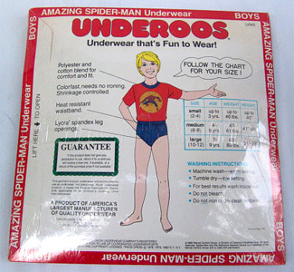 Package of Spider-Man Underoos - Back side (Photo credit: Photo credit: The Rusty Chicken)